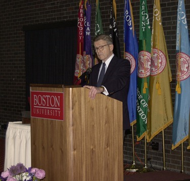 Chancellor of Boston University, Dr. John Silber, addresses the scholars and guests at the Ceremony to Honor The Cardinal Medeiros Scholars in the Matcalf Hall of the George Sherman Union.                             