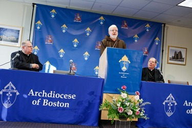 Cardinal Seán P. O'Malley, Msgr. James Moroney and Bishop Robert P. Deeley speak to the media about the resignation of Pope Benedict XVI Feb. 12, 2013 at the archdiocese's Pastoral Center. 
