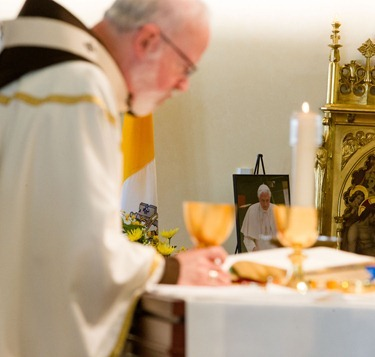 Cardinal Sean P. O'Malley celebrates a Mass for the Feast of the Chair of Peter in celebration of the ministry of Pope Benedict XVI. In his homily, Cardinal O'Malley downplayed speculation of his becoming the next pope and instead said it was important that Catholics pray for the Holy Spirit to help the cardinals in making the right choice. (Pilot photo by Gregory L. Tracy)