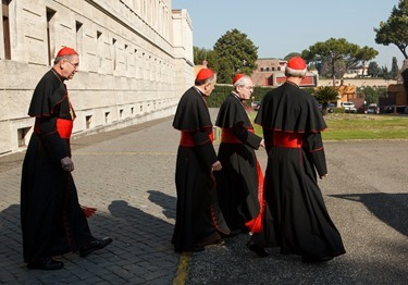 Cardinals Roger Mahony, Daniel DiNardo, Justin Rigali and Donald Wuerl leave the Pontifical North American College in Rome on their way to a final meeting with Pope Benedict XVI February 28, 2013.<br /> Pilot photo/Gregory L. Tracy<br />
