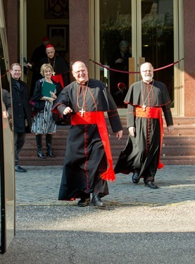 New York Cardinal Timothy Dolan and Boston Cardinal Sean O'Malley leave the Pontifical North American College in Rome on their way to a final meeting with Pope Benedict XVI February 28, 2013.<br /> Pilot photo/Gregory L. Tracy<br />