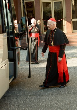 Cardinals Francis George and Edward Egan board a bus at Pontifical North American College in Rome on their way to a final meeting with Pope Benedict XVI February 28, 2013.<br /> Pilot photo/Gregory L. Tracy<br />