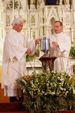 Cardinal Sean P. O'Malley celebrates the Chrism Mass March 26, 2013 at the Cathedral of the Holy Cross. The Mass at which sacred oils are blessed is also an occasion to celebrate priestly fraternity.<br /><br /><br /><br /> Pilot photo/ Gregory L. Tracy<br /><br /><br /><br />