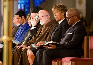 Boston Cardinal Sean P. O'Malley joins Boston faith leaders at the Healing Our City interfaith prayer service to honor those affected by the Boston Marathon bombings, held at the Cathedral of the Holy Cross in Boston April 18.&lt;br /&gt;&lt;br /&gt;&lt;br /&gt;&lt;br /&gt;&lt;br /&gt; Pilot photo/ Gregory L. Tracy&lt;br /&gt;&lt;br /&gt;&lt;br /&gt;&lt;br /&gt;&lt;br /&gt; 