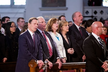 "The ""Healing Our City"" interfaith prayer service to honor those affected by the Boston Marathon bombings, held at the Cathedral of the Holy Cross in Boston April 18.<br /><br /><br /><br /><br /> Pilot photo/ Gregory L. Tracy<br /><br /><br /><br /><br />"