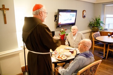 Cardinal O'Malley visits the Regina Cleri residence for retired priests Holy Thursday, March 28, 2013.