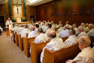 Celebration with jubilarian priests of the Class of 1963 at Regina Cleri, May 24, 2013.