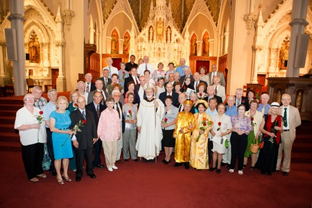 Nearly 200 couples attended the Gold and Silver Wedding Anniversary Mass, celebrated by Cardinal Seán P. O'Malley June 2 at the Cathedral of the Holy Cross. During the Mass the couples renew their vows.