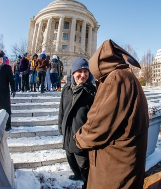 Cardinal O'Malley joins participants in the Archdiocese of Boston's Pilgrimage for Life at the annual March for Life in Washington, D.C. Jan. 22, 2014.  (Pilot photo by Gregory L. Tracy)