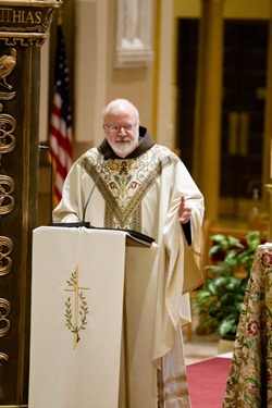 Cardinal O'Malley celebrates a Mass for national pro-life leaders Jan. 21, 2014 at the Franciscan Monastery of the Holy Land in America in Washington, D.C. Pilot photo by Gregory L. Tracy