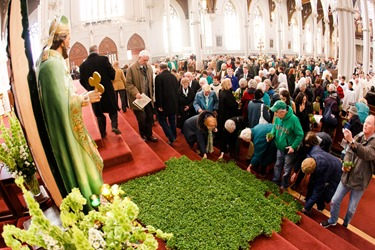 Cardinal Seán P. O'Malley celebrates Mass for the Feast of St. Patrick at the Cathedral of the Holy Cross March 17, 2014. 
