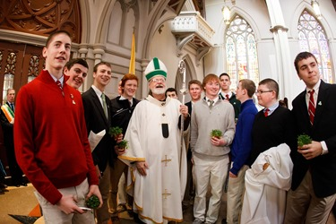 Cardinal Seán P. O'Malley celebrates Mass for the Feast of St. Patrick at the Cathedral of the Holy Cross March 17, 2014.  Pilot photo/ Gregory L. Tracy
