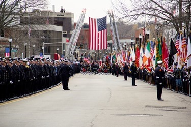 Funeral Mass for Boston Fire Lt. Edward Walsh, celebrated April 2, 2014 at St. Patrick Church in Watertown.  Walsh was killed along with Firefighter Michael Kennedy fighting a March 26 nine-alarm brownstone in Boston's Back Bay.&lt;br /&gt;<br /> Pilot photo/ Christopher S. Pineo &lt;br /&gt;<br />