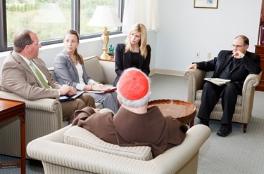 USCCB Child Protection auditors meet with Cardinal Sean P. O'Malley in the cardinal's Braintree office Aug. 13, 2014. Pilot photo/ Gregory L. Tracy