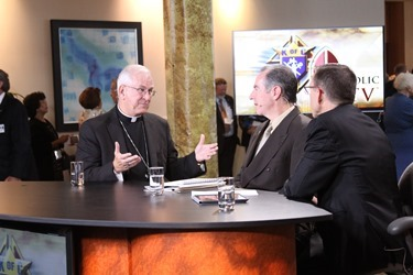 kofc-Archbishop Kurtz, Kevin and Fr. Reed on set