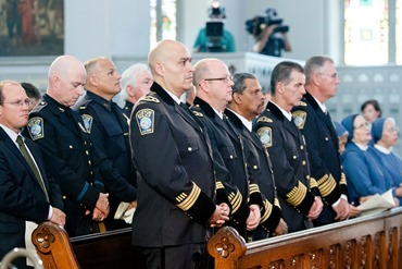 Cardinal Seán P. O'Malley celebrates the Mass for Public Safety Personnel, sometimes called the Blue Mass, at the Cathedral of the Holy Cross Sept. 21, 2014.<br /> Pilot photo/ Gregory L. Tracy<br />
