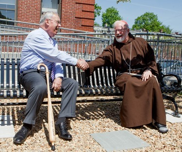 Dedication of a bench in honor of former Boston Mayor Thomas Menino outside Catholic Charities' Teen Center at St. Peter's in Dorchester May 12, 2014.<br /> Pilot photo/ Gregory L. Tracy<br />