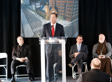 Groundbreaking of the future Our Lady of Good Voyage (Seaport) Chapel on Seaport Blvd. in South Boston, Nov. 21, 2014.&lt;br /&gt;<br /> Pilot photo by Gregory L. Tracy&lt;br /&gt;<br />