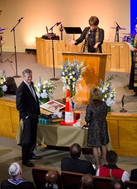 Prayer Service for Massachusetts Governor-elect Charlie Baker and Lieutenant Governor-elect Karyn Polito held on the eve of their inauguration, Jan. 7, 2015 at Congregation Lion of Juda in Boston.