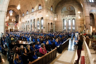 Cardinal Sean O'Malley celebrates Mass with the Boston groups in Washington, D.C. for the March for Life at the Shrine of the Sacred Heart Jan. 22, 2015. Pilot photo/ Gregory L. Tracy