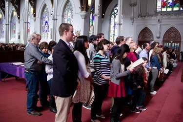 The Rite of Election and Call to Continuing Conversion for those who will be received into the Church at Easter is celebrated at the Cathedral of the Holy Cross March 9, 2014. (Pilot photo/ Christopher S. Pineo)