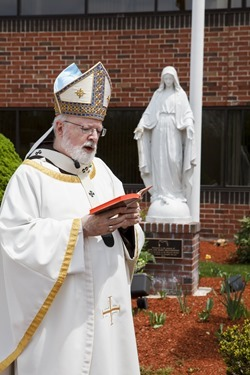 Dedication of the statue of the Blessed Mother outside the Pastoral Center to the late Jack and Mary Shaughnessy, May 12, 2015.