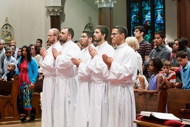 Institution of lectors and acolytes for Redemptoris Mater Seminary at St. Lawrence Church in Brookline June 21, 2015.<br /> Photo by Gregory L. Tracy<br />