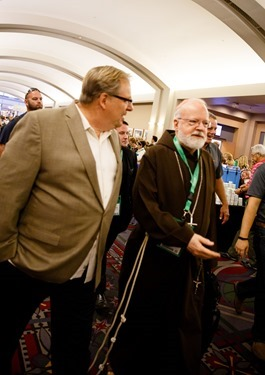 Cardinal O'Malley delivers a joint keynote address with Pastor Rick Warren, senior pastor of Saddleback Church in Lake Forest, Calif., at the World Meeting of Families in Philadelphia Sept. 25, 2015.