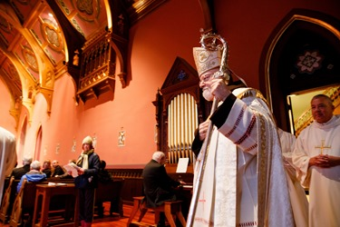 Cardinal O'Malley blesses new bells for the Cathedral of the Holy Cross at a vespers service held Oct. 18, 2015. Pilot photo/ Gregory L. Tracy