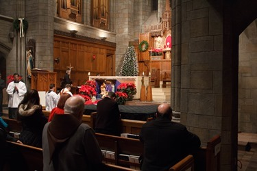 New Year's Eve Holy Hour and Mass celebrated by Cardinal Sean O'Malley at St. Clement's Eucharistic Shrine in Boston Dec. 31, 2015. Pilot photo/ Mark Labbe