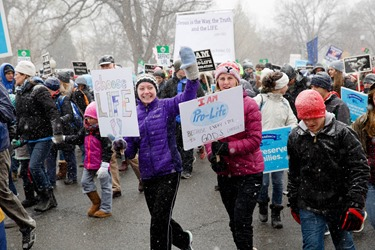 Participants in the 2016 March for Life in Washington, D.C. make their way up Constitution Ave. towards the Supreme Court Jan. 22. Pilot photo/ Gregory L. Tracy