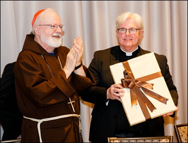 Philadelphia Archbishop Charles Chaput and Father Kevin O'Leary are honored at the Redemptoris Mater Seminary Annual Gala Dinner held June 2, 2016 in Norwood. Photo by Gregory L. Tracy, The Pilot