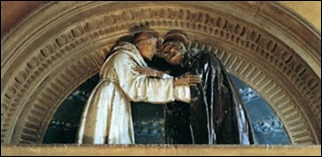Andrea della Robbia_Embrace between Sts. Francis and Dominic_1493-95_Florence_Spedale di San Paolo