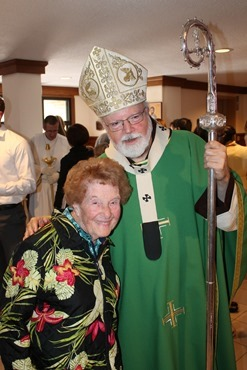 Cardinal O'Malley and one of the original parishioners, Mary Carey.