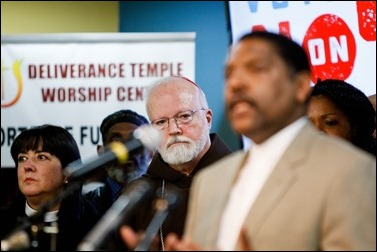 Massachusetts faith leaders opposing Ballot Question 4 rally at Deliverance Temple Worship Center in Dorchester, Nov. 1. Pilot photo/ Gregory L. Tracy