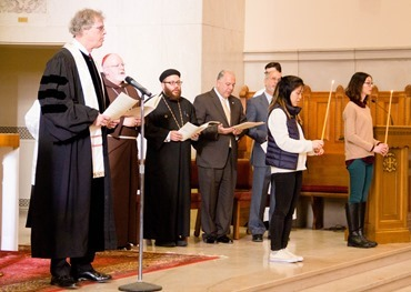 Boston area faith leaders gather for an ecumenical celebration Jan. 21, 2017 at Holy Name Church in West Roxbury to mark the Week of Prayer for Christian Unity. The day began with lunchtime workshops, followed by an interfaith prayer service. Pilot photo/ Mark Labbe