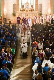 Cardinal Sean P. O'Malley celebrates Mass at Sacred Heart Shrine in Washington, D.C. with Boston groups before the March for Life, Jan. 27, 2017. Pilot photo/ Gregory L. Tracy