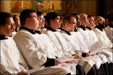 Seminarians take part in the Vigil Mass for Life, held Jan. 26 at the Basilica of the National Shrine of the Immaculate Conception in Washington, D.C. Pilot photo/ Gregory L. Tracy