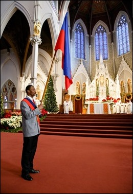 Cardinal Seán P. O'Malley celebrates Mass with the Haitian community of Boston at the Cathedral of the Holy Cross Jan. 1, 2017. Pilot photo/ Gregory L. Tracy