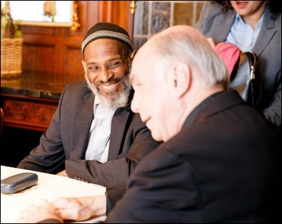 Cardinal O'Malley hosted a gathering of Boston-area Muslim community leaders with representatives of the local Catholic and Greek Orthodox Churches and government officials, including Gov. Charlie Baker, Boston Mayor Martin Walsh and Boston Police Commissioner William Evans, at the rectory of the Cathedral of the Holy Cross Feb. 2, 2017. Pilot photo/ Gregory L. Tracy