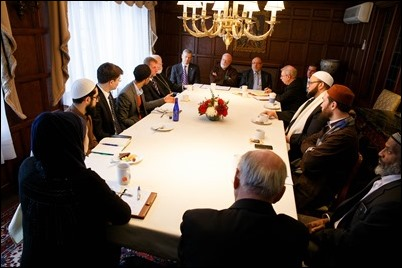 Cardinal O'Malley hosts a gathering of Boston-area Muslim community leaders with representatives of the local Catholic and Greek Orthodox Churches and government officials, including Gov. Charlie Baker, Boston Mayor Martin Walsh and Boston Police Commissioner William Evans, at the rectory of the Cathedral of the Holy Cross Feb. 2, 2017. Pilot photo/ Gregory L. Tracy