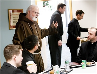 Cardinal O'Malley meets with recently ordained priests at the Archdiocese of  Boston's Pastoral Center, March 30, 2017. Pilot photo/ Gregory L. Tracy