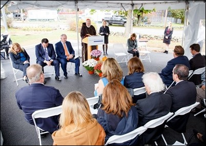 Cardinal Seán P. O'Malley and Lt. Governor Karyn Polito celebrate the groundbreaking of Bethany Apartments affordable and workforce housing at the Cardinal Cushing Centers in Hanover, Oct. 23, 2017. Pilot photo/ Gregory L. Tracy