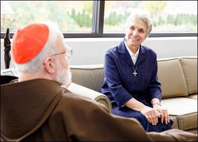 Sister Paula Coelho meets with Cardinal Sean P. O'Malley in his offices at the Archdiocese of Boston's Pastoral Center Nov. 1, 2017. Pilot photo/ Gregory L. Tracy