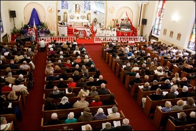 Cardinal O'Malley celebrates a Mass at the Shrine of Divine Mercy in Salem to officially present a relic of Pope St. John Paul II, April 7, 2018. Following the Mass, there was a luncheon, time of prayer and a Way of the Cross procession through the streets of Salem. Pilot photo/ Mark Labbe
