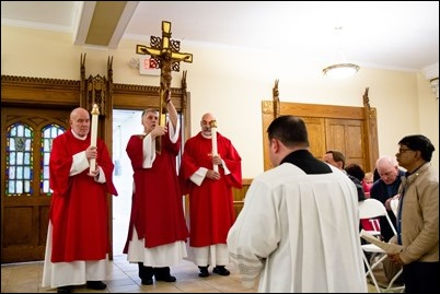 Good Friday Liturgy of the Lord's Passion with veneration of the cross at the Cathedral of the Holy Cross, March 30, 2018. Pilot photo/ Mark Labbe