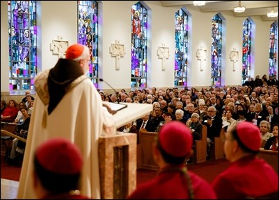 Cardinal Sean P. O'Malley presides at the 2018 Cheverus Award ceremony, Nov. 26 at Immaculate Conception Church in Malden. Pilot photo/ Gregory L. Tracy