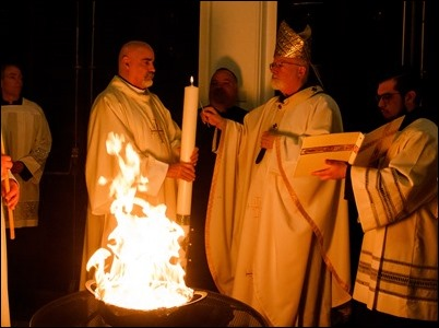 Cardinal Sean P. O'Malley celebrates the Easter Vigil at the Cathedral of the Holy Cross April 20, 2019. Pilot photo/ Jacqueline Tetrault
