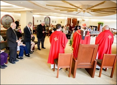 Permanent deacons celebrating 25 and 40 years of ordination  are honored at a Mass and lunch at the Pastoral Center, May 14, 2019. Pilot photo/ Gregory L. Tracy