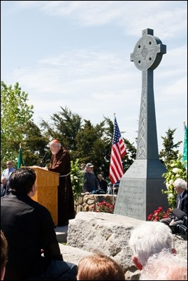The May 25, 2019 dedication ceremony of a memorial to 850 Irish immigrants fleeing the Potato Famine who died in quarantine on Deer Island on Boston Harbor waiting to be admitted to the U.S. from 1847 to 1850.  Pilot photo/ Jacqueline Tetrault